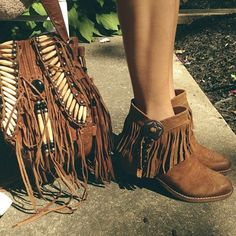 Fringe booties and bag