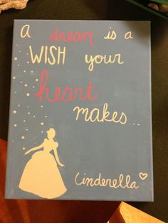 Cinderella Dream Quote painting by LovePurpleLiveGold on Etsy, $20.00    inspiration ideas...