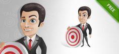 Businessman target success cartoon vector