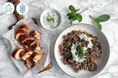 Poulet Tandoori et Lentilles du Puy Aubergines Graffiti & Yogourt Concombre-Menthe Graffiti, Recipes, Eggplants, Cucumber, Mint, Lentils, Poultry, Ripped Recipes