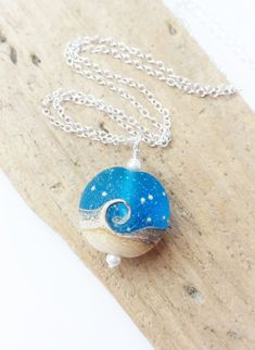 Beach Jewelry, Ocean Wave Necklace, Blue Nautical Wave Lampwork Pendant Necklace, Frosted Blue & White Lentil Bead, Beach Wedding