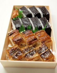 Sushi in a box: seaweed and eel