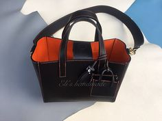 Leathercraft handmade hand stitched black & orange Top Handle