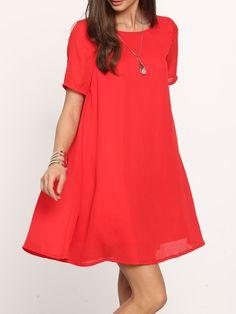 Red Short Sleeve Backless Shift Dress