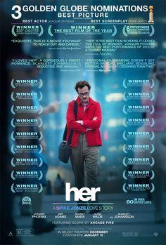 Llega un nuevo cartel de 'Her', dirigida por Spike Jonze y protagonizada por Joaquin Phoenix y Scarlett Johansson en una curiosa historia de amor entre un hombre y la asistente robótica de su teléfono móvil.