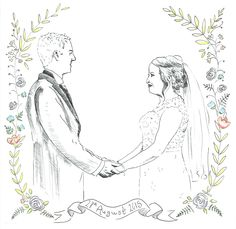 Custom Wedding Portrait - Pen and Ink Wedding Portraits, Arts And Crafts, Ink, Silver, Beautiful, Jewelry, Jewellery Making, Money, Jewelery
