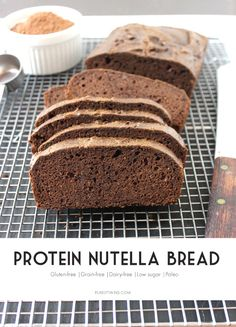 Homemade protein nutella bread recipe made from 7 ingredients. Gluten and grain free bread.