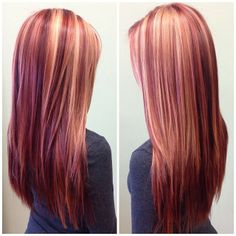 Beautiful blonde and bold reds! – - All For Hair Cutes Red Hair With Blonde Highlights, Red Blonde Hair, Strawberry Blonde Hair, Balayage Hair Blonde, Blonde Brunette, Haircolor, Hair Color Auburn, Auburn Hair, Red Hair Color