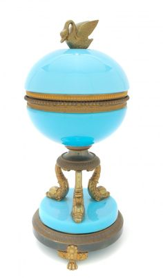 French Opaline Glass and Gilt Bronze Mounted Box