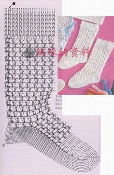 crochet socks - diagram onlyInteresting socks crochet scheme and description - 19 February 2016 - SCHEME Knitting - Crochet and knittingselection of crocheted fishnet knee-highs and socks. golf and fishnet socks, crochet pattern &nbsIvelise Hand Made Crochet Diy, Mode Crochet, Crochet Boots, Crochet Gloves, Crochet Slippers, Crochet Socks Pattern, Crochet Motifs, Crochet Diagram, Crochet Chart