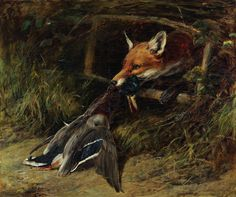 Heywood Hardy (British, 1843-1933), Returning to the Fox's Lair, oil on canvas, signed twice and dated 1896, 27.5″ x 32.5″