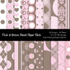 20 Digital Papers  Pink and Brown Pastel by EricaHoustonDesigns, $5.00