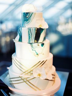 5409 best Wedding Cakes images on Pinterest   Wedding bouquets  Alon     Chicago s Adler Planetarium Wedding with Modern Everything