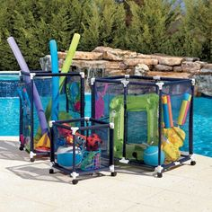 Rolling Storage Bins Pool Toy Storage Swimming Pool Accessories And Toy Storage Bins