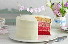 Ombre Kuchen für Kindergeburtstag mit weizer Glasur