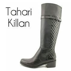 "TAHARI TA-KILLAN BOOTS Features a leather upper w/ round toe. The man-made outsole lends a lasting traction and wear.  Shaft: 15.5"" Circumference: 15"" Heels: 2"" Width: M Tahari Shoes Winter & Rain Boots"