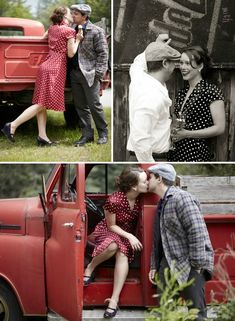 I love themed Engagement photo shoots. And I'm loving the polka dots and news cap in this one. I could totally see myself going with something like this. But lose the field. Set this in front of a vintage-style movie marquee (Hackettstownians: Think The Strand on Main Street) or a Drive-In Theatre.   I would love that.