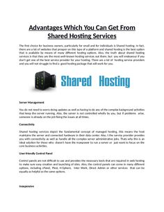 The service company is able to save money and offer cost -effective services. You can easily find a shared hosting plan that is highly cost effective.
