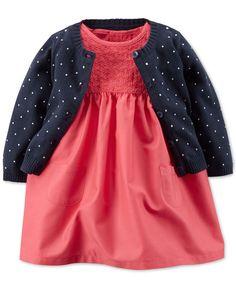 Carter's Baby Girls' Woven Dress & Dot Cardigan Set