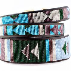 Miles is getting jealous of all the beautifully beaded accessories I've picking up lately. Now he's demanding I buy him this jacaranda dog collar. I can't say no.