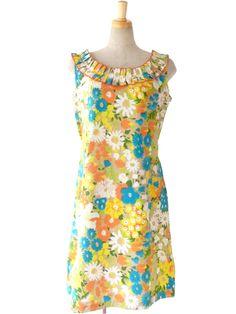 70年代製 ベージュ X カラフル トロピカル花柄プリント ひだ飾り ワンピース 15SP035