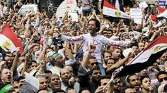Egyptian Muslim Brotherhood members shout slogans during a protest in front of the Supreme Judicial Council in Cairo, Egypt, Friday, April 1...