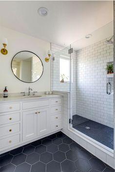 Tile Walk In Shower, White Subway Tile Bathroom, Master Bathroom Shower, Upstairs Bathrooms, White Tile Bathrooms, Large Tile Shower, Boys Bathroom Decor, Shower Step, Shower Floor Tile