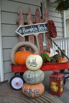 Home Sweet Home Painted Pumpkins- these look fabulous stacked by an entry, or on the hearth or fireplace