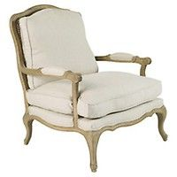 Chantal French-Style Armchair, Oak Frame