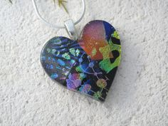 Heart Necklace  Fused Glass Jewelry Dichroic Jewelry  by ccvalenzo, $26.00