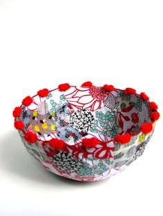 Decorative Fabric Paper Mâché Bowl by CarnivalCraftCompany on Etsy