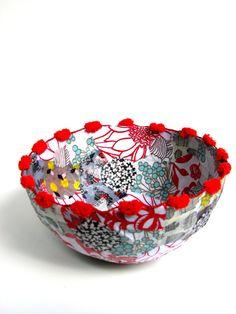Decorative Fabric Paper Mâché Bowl