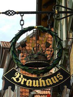 Brauhaus, Quedlinburg (UNESCO WHS)  Sign of the pub Brauhaus (brewery), Blasiistraße (Blaise street), Quedlinburg in the Harz mountains, Sachsen-Anhalt (Saxony-Anhalt), Germany.*