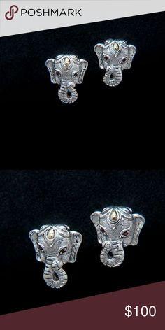 """Jai John Hardy Elephant Earrings Jai John Hardy Elephant Earrings. Sterling silver with 14k gold accents and Garnet eyes. Measures approximately 5/8""""L x 1/2""""W. Never worn. John Hardy Jewelry Earrings"""