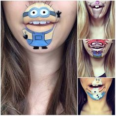 London-based Laura Jenkinson Makeup Artist paints her chin and mouth to look like Cartoon characters.