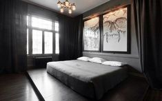 Home decor Gothic bedroom. Contemporary Gothic Bedroom With Framed Wall Arts And Black Walls . Black Curtains Bedroom, Gray Bedroom, Home Decor Bedroom, Bedroom Wall, Bedroom Furniture, Bedroom Ideas, Charcoal Bedroom, Gothic Furniture, Bedroom Images