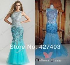 Online Shop real sample 2014 hottest new arrival sheer fabric heavy beaded blue mermaid prom dresses|Aliexpress Mobile