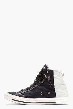 9a87bb7172a0a0 DIESEL Blue Denim High-Top EXPOSURE I Sneakers Japanese Denim