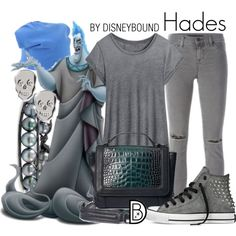 Hades by leslieakay on Polyvore featuring polyvore, fashion, style, J Brand, Converse, H&M, Chan Luu, Banana Republic, jucca, disney, disneybound and disneycharacter
