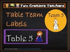 Two Creative Teachers - Team / Table Labels FrozenThemeThis product contains circular and rectangular team and table labels with a 'Frozen' theme.Brighten up your classroom or learning space with these fun and colourful team/table labels. Teaching Ideas:* Display the signs on tables for children* Display the signs on the whiteboard for table points* Place children into teams using the team cards* Place the labels on trays and ask students to hand their completed work into their table tray…