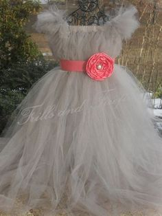 Silver Grey Flower Girl Tutu Dress with Coral Sash and Flower.. Great Flower Girl Dress, Party Dress, Costume,   Can be made in Other Colors. $68.00, via Etsy.