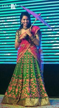 Half saree Indian Bridal Wear, Indian Wear, Ethnic Fashion, Indian Fashion, Women's Fashion, Ghaghra Choli, Bridal Dresses, Bridal Sarees, South Indian Jewellery