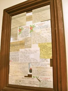 old recipes from my granparents and parents put in a big frame in the kitchen – framepicture Crafts For Teens To Make, Crafts To Sell, Easy Crafts, Diy And Crafts, Old Recipes, Vintage Recipes, Framed Recipes, Food Displays, Dollar Store Crafts