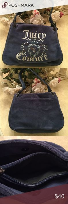 "💙 JUICY COUTURE HANDBAG Juicy couture handbag..excellent condition..used only a handful of times..blue velour with silver stitching..3 compartments..2 pockets with zippers..dimensions: 10"" x 7""..refer to pics.. Juicy Couture Bags Totes"