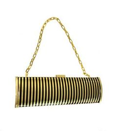 ShopCurious - Vintage 1970s black and gold striped evening bag