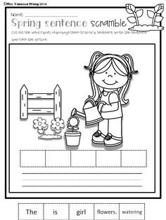 Spring sentence scramble- Spring Math and Literacy No Prep - Kindergarten  An excellent pack with a lot of sight word, short vowel, long vowel, spelling, vocabulary, word work, reading, fluency and other literacy activities and practice