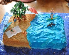 beach theme  sheet cakes | Jack's cake was a beach themed cake. The sand was crumbled graham ...