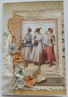 Graphic 45 papers - Vintage ladies card with dimensional roses, pins, lace, and butterflies