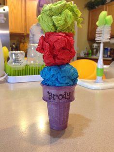 """I"" preschool craft. Ice cream cone and tissue paper. Cheap craft for kids!"