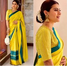 Kajol's Graceful Avatar Is An Ode To Traditional Sarees! Pattu Saree Blouse Designs, Saree Blouse Patterns, Trendy Sarees, Stylish Sarees, Fancy Sarees, Fancy Blouse Designs, Bridal Blouse Designs, Saree Trends, Designer Blouse Patterns